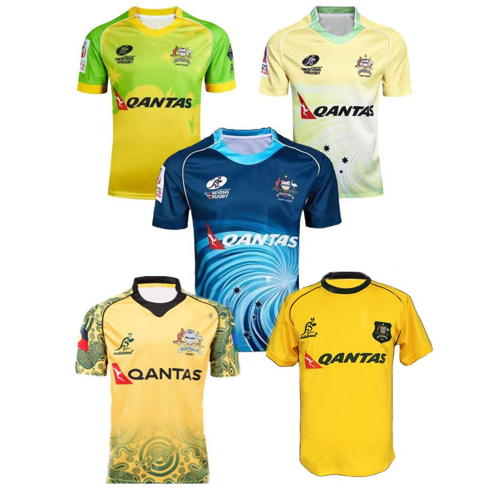 4604e6b68af 2019 Wholesale 16 17 Austral Rugby Shirt Men Polyester Jersey Top Quality  Breathable Quick Dry Austral Rugby Jerseys Blue Yellow S 3XL KUV12 From  Dinaha, ...