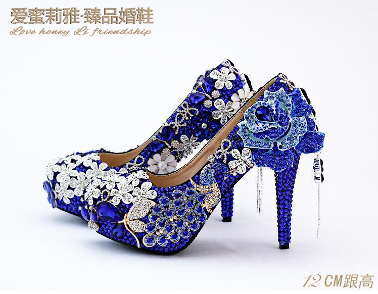 Navy blue flowers tassel diamond wedding shoes high with navy blue flowers tassel diamond wedding shoes high with waterproof high heels round head heels banquet women shoes geox shoes dress shoes for men from junglespirit Gallery