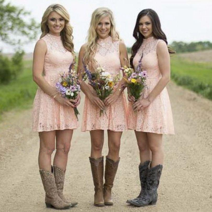High Neck Pink Lace Short Bridesmaid Dresses Cheap Country ...