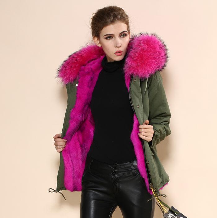 2017 Mrs Fur Army Green Coat Light Pink Real Fur Collar,Fur Liner ...