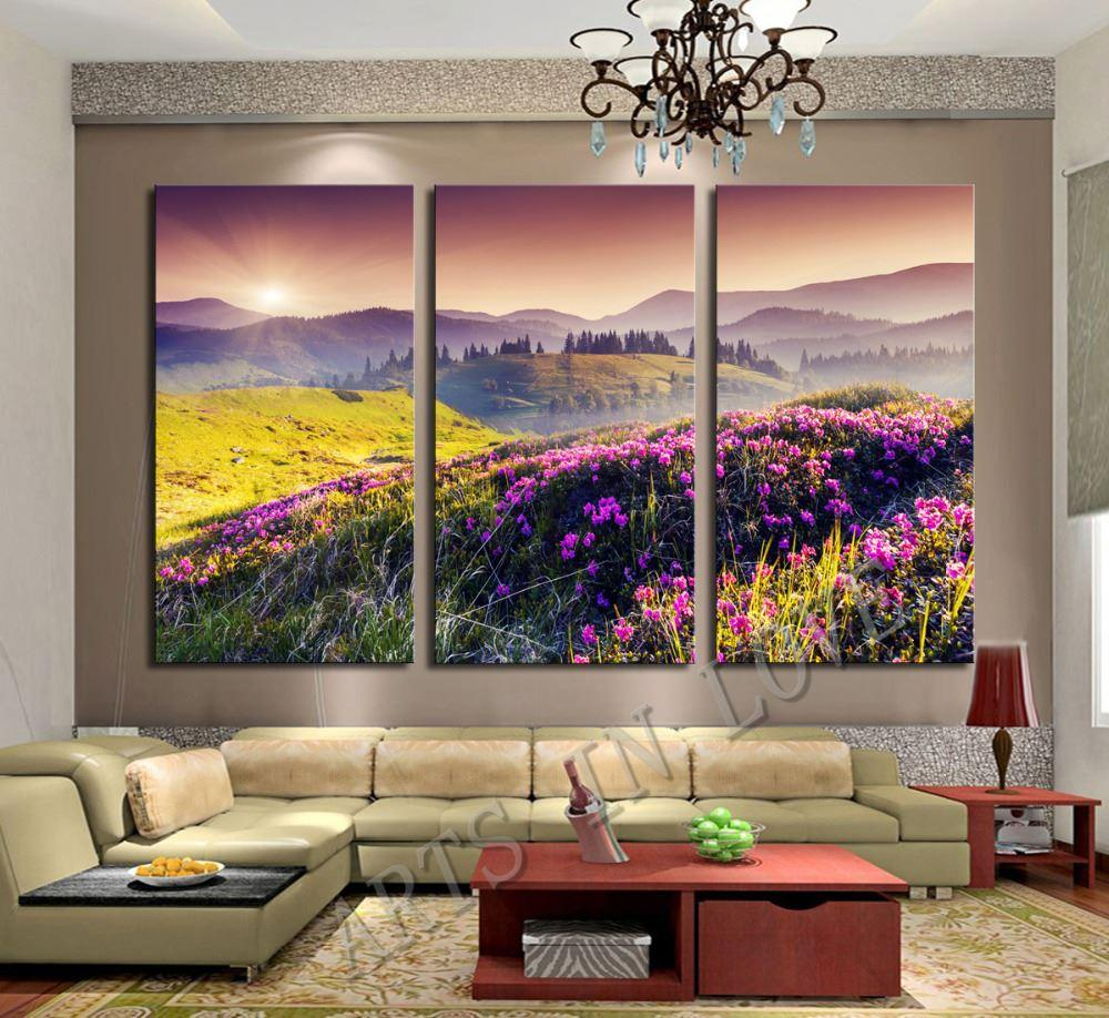 Purple And Yellow Kitchen Wall Art Unframed Kitchen: 2019 Yellow Grass Purple Flowers Setting Sun And Mountains