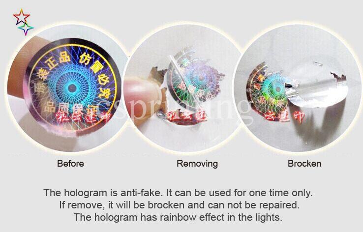 Etichetta adesiva dell'ologramma di Hologram del laser trasparente di sicurezza su ordine economico, autoadesivo antifurto antifurto antifurto