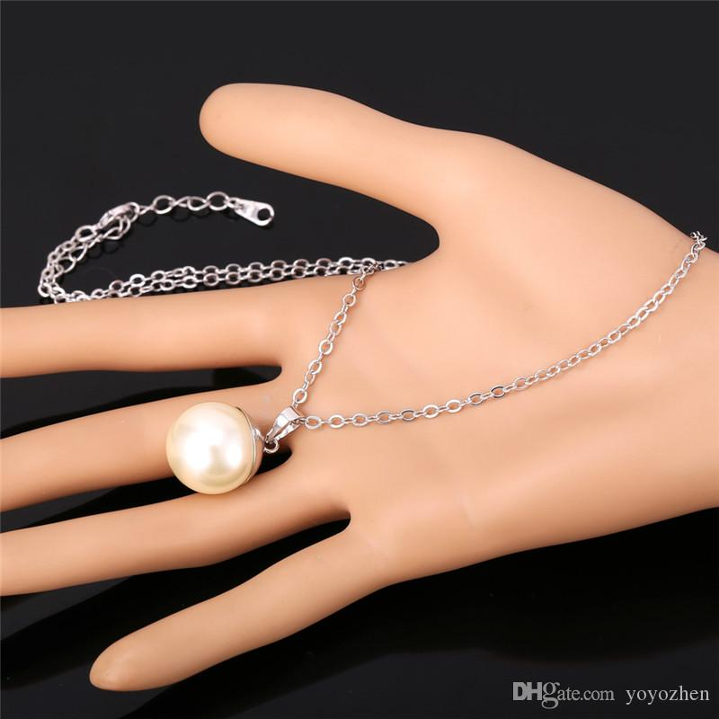 2015 New Trendy Pear Jewelry Pendants Necklaces 18K Real Gold/Platinum Plated Big Pearls Necklace for Women