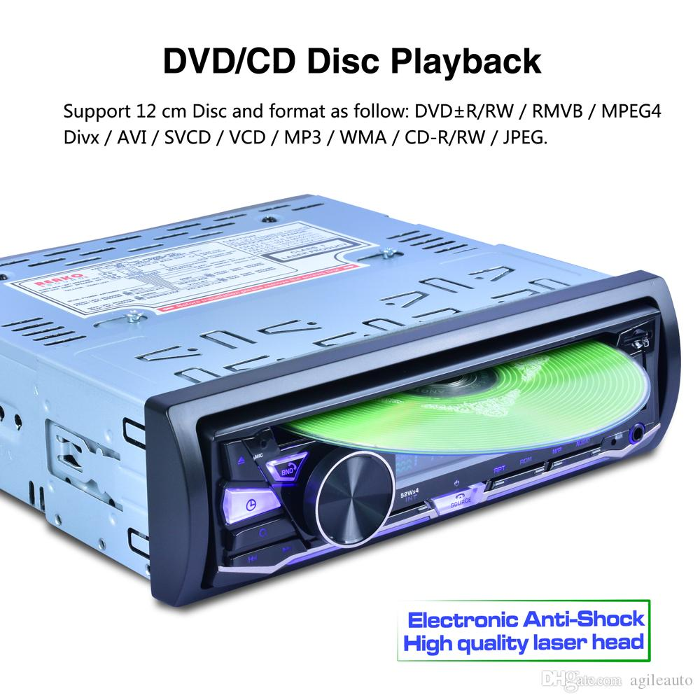 RK-8828B 12V 1 Din Bluetooth Car DVD Player Support VCD SD USB AUX Built-in AM FM RDS Radio Stereo CMO_21R