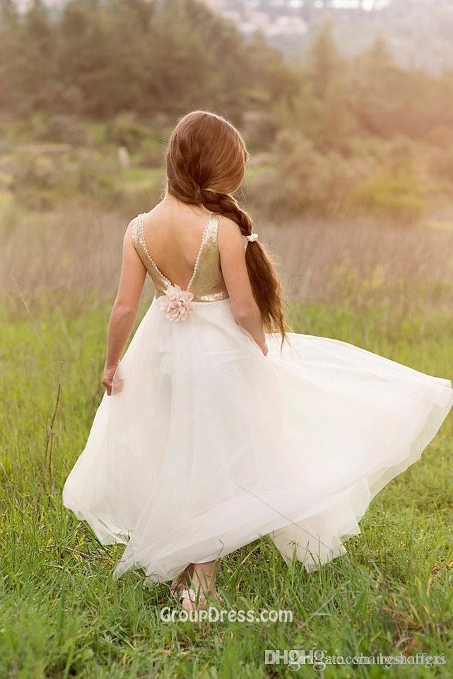 Fantástico Verão Baby Girl Dress Prom para meninas vestidos de festa de dança Floral 3D Applique Backless lantejoulas vestidos de tecido da menina de flor