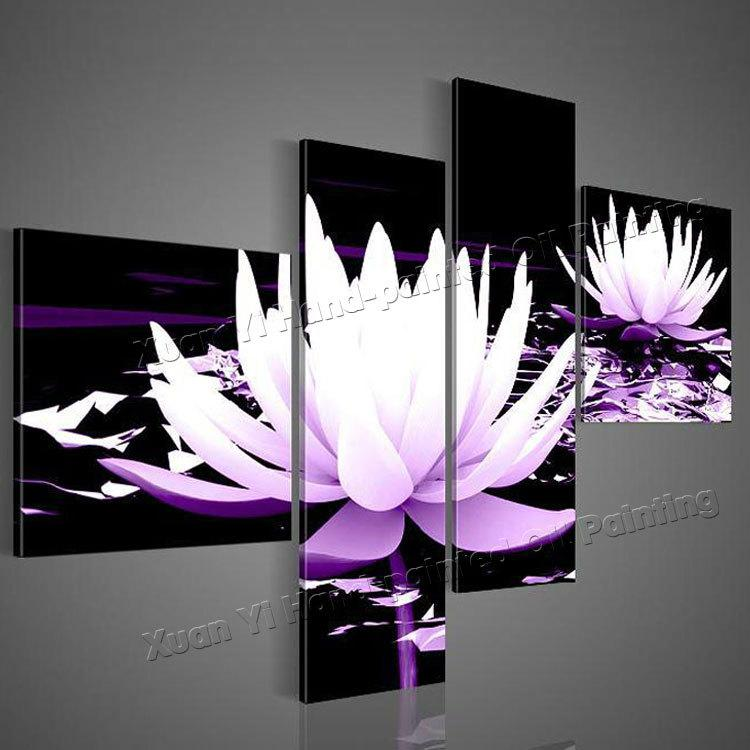 100% HD Painted Black White Purple Modern Decorative Oil Painting On Canvas  Wall Art Flower Picture For Living Room Diy Digital Oil Painting Daft Punk  Wall ...