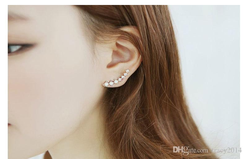 Pearl CZ earrings Women Ear Hook Big Dipper Crystal Rhinestone Zircon Pearl Stud Ear Clip Earrings