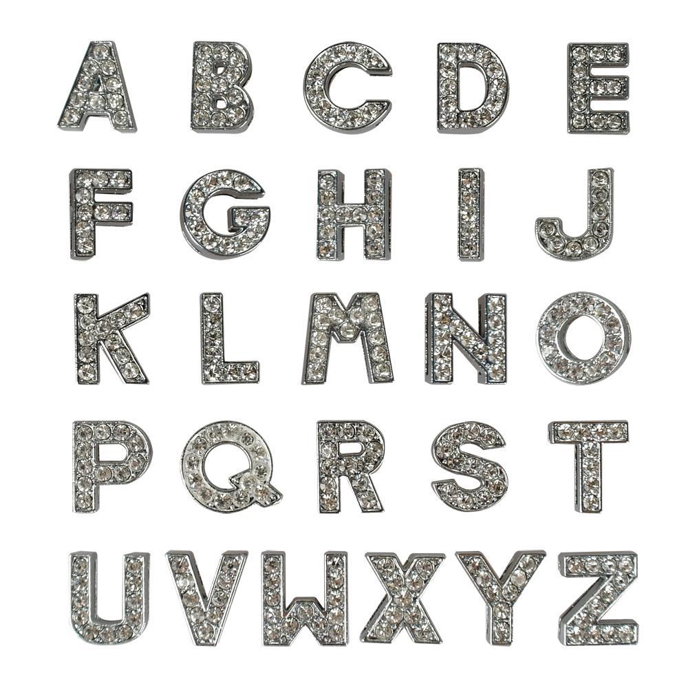 lettere bianche A-Z 10mm lettere chiare del Rhinestone Cane Pet nome del gatto Nome personalizzato cursore di DIY