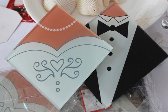 2019 Romantic Style Bride And Tuxedo Groom Glass Coaster Wedding