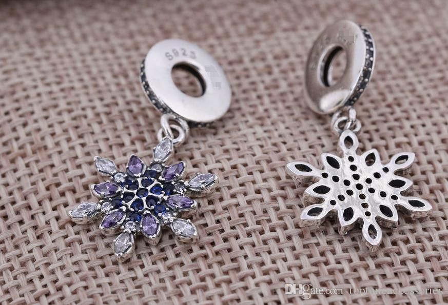 Sterling Silver Charms 925 Ale Winter Rhinestone Snowflake Dangled European Charms for Pandora Bracelets DIY Beads Accessries New Year Gift