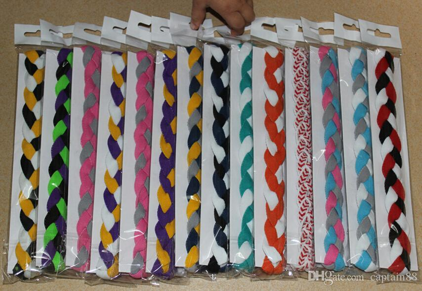 outdoor sport mini headband Custom different colored elastic weave braided headband with silicon for women and men
