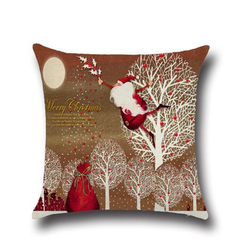 Urijk Marca 45x45 Santa Claus Cojín Decoraciones de Navidad Para El Hogar Sofá Funda de Almohada Asiento Cojines Juguetes Multicolor
