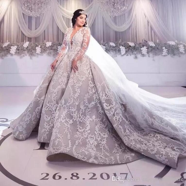 Discount Luxury Charming Silver Wedding Dresses 2018 New Arrival