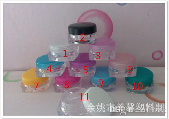 3ml round transparent Mini plastic bottles/ jars/ containers with lids for cosmetic packaging,cream jar PZ7