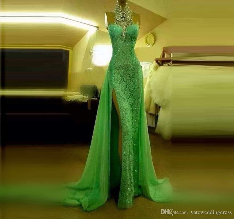 輝くミントグリーンレースイブニングドレスフロントスプリットクリスタルラインストーンマーメイドウエディングドレスハイネックホルターセクシーなフォーマルドレス