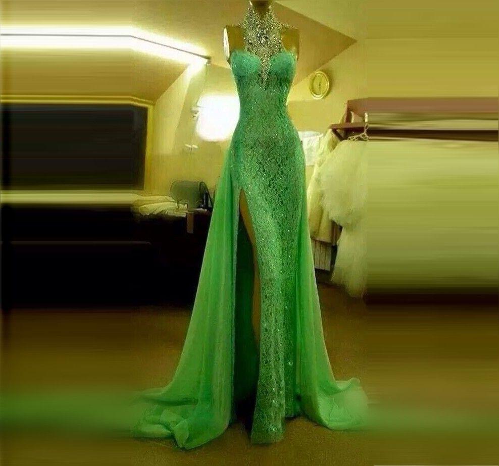 Sprankelende Mint Groene Kant Avondjurk Voorkant Split Kristallen Rhinestones Mermaid Prom Dresses Hoge Hals Halter Sexy Formele Kleding