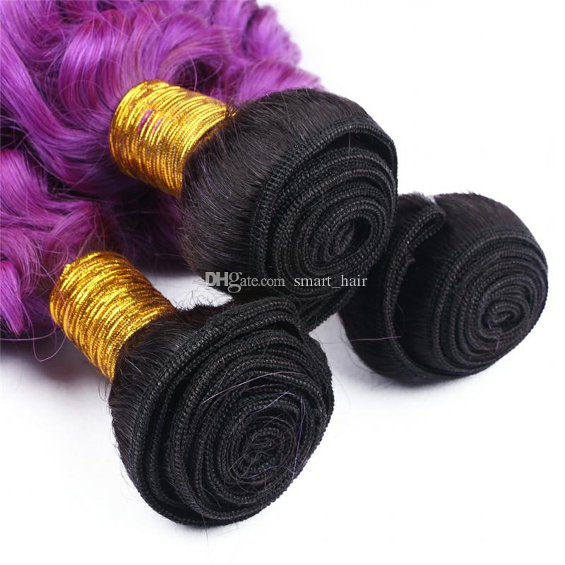 Dark Root Deep Curly 13x4 Frontal With Hair Extension Ombre Color Deep Wave 1B Purple Human Hair Bundles With Lace Frontal
