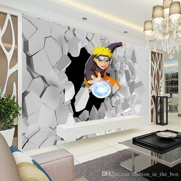 Японское аниме Наклейка 3D Наруто Фото Обои Мальчики Детская Спальня На Заказ Мультфильм Обои Гостиная Большая стена Художественная Декор Комнаты Прихожая