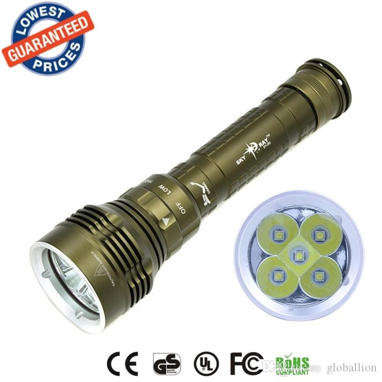 DX5 diving flashlight 5xCREE XM-L2 8000LM waterproof torch underwater 100M led flashlight for 26650 battery led flashlight torch