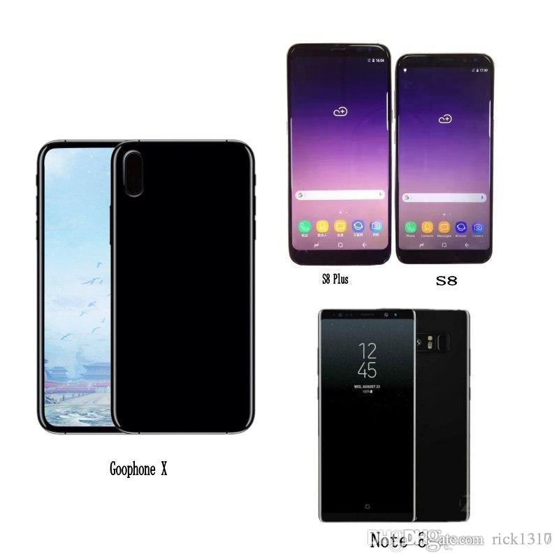 Free DHL Goophone S8 plus Note 8 S7 edge X i8 plus android Quad Core  Smartphone mobile show Octa 64GB 4G LTE Unlock Cell Phones Sealed box