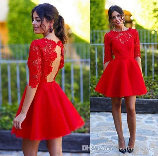 Prachtige rode kant cocktail jurken sexy sleutelgat open rug korte feestjurk illusie crew hals mini prom jassen met halve mouwen gewoonte
