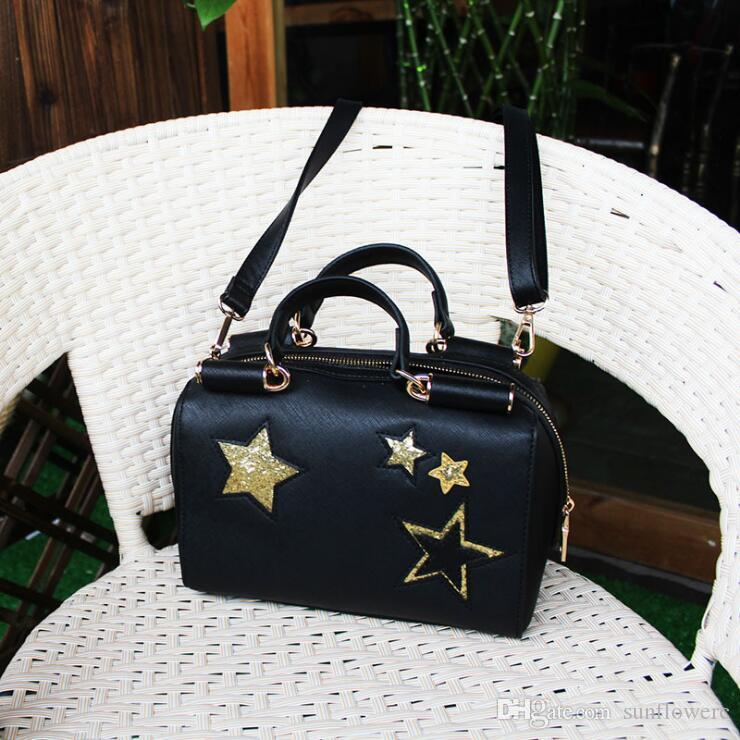 YILDIZ PU Messager Çanta - Yeni Kadın Casual Çapraz Vücut Omuz Çantaları Seyahat Çanta Bolson