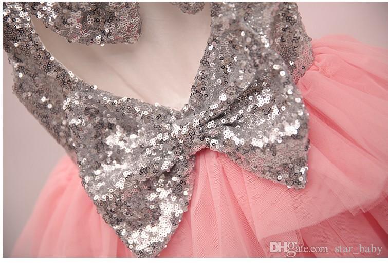 2016 Spring Summer Girls Dress Pretty Sequin Big Bowknot Dress Girl Baby Clothes Dress Tops Pink K6721