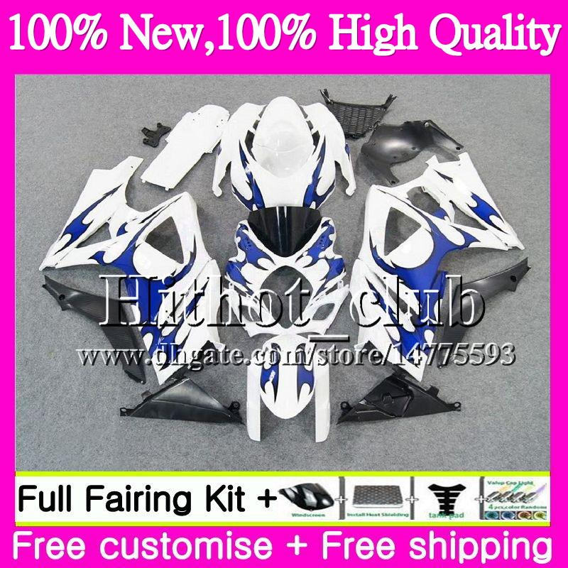 Bodys For SUZUKI GSXR-1000 K7 Blue flames GSX-R1000 GSXR 1000 07 08 31HT19 GSXR1000 07 08 Bodywork GSX R1000 2007 2008 Motorcycle Fairing