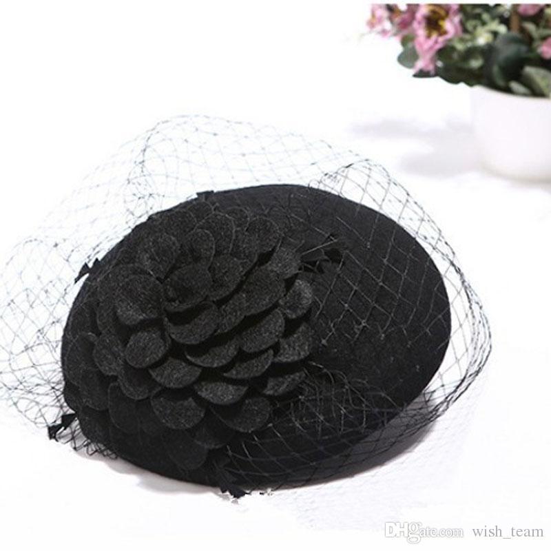 Classic Fascinator Hair Pillbox Hat Flower Black Simplicity Women Lady Felt Cocktail Party Wedding Church Fedora Top Hat Hairpin