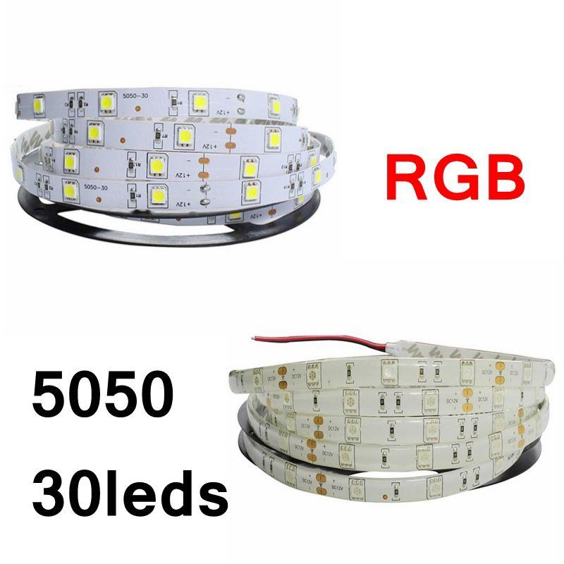 Edison2011 IP20 IP65 5050 SMD RGB LED tira luz 30leds / m flexível tira LED DC12V 150LED 5M RGB LED Corda