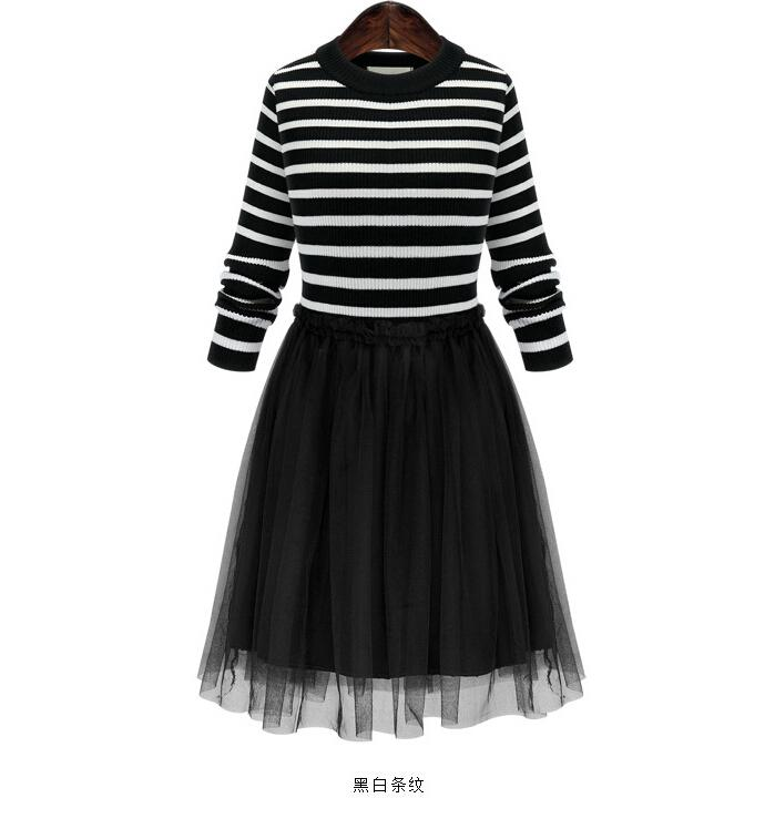 2016 Spring/Autumn Women Clothes Winter Black White Stripe Dress Fashion Long Sleeved Knit Sweater tutu Gauza Casual dresses for womens