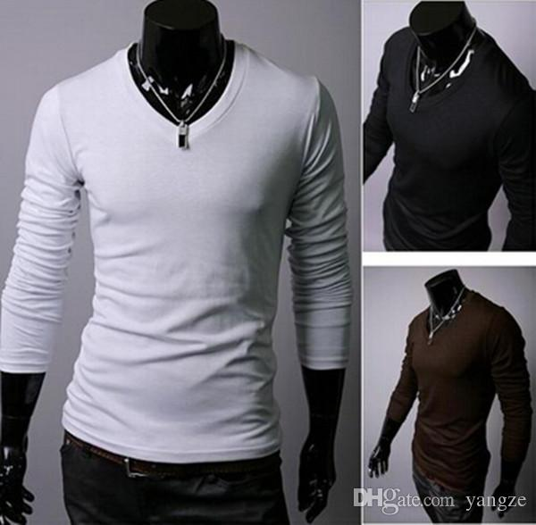 Men Basic T-shirt with Cotton V-Neck Long Sleeved Slim Fit Casual T-Shirt Tops Tee Black White Bray Brown Army Hot 4 size M L XL 2XL M121