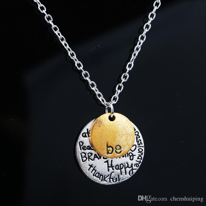 """hot sale cheap Two-Tone """"Be"""" Graffiti Charm Necklace Two PCS Set Circle Pendant Necklaces Jewelry Women For Christmas Gift"""