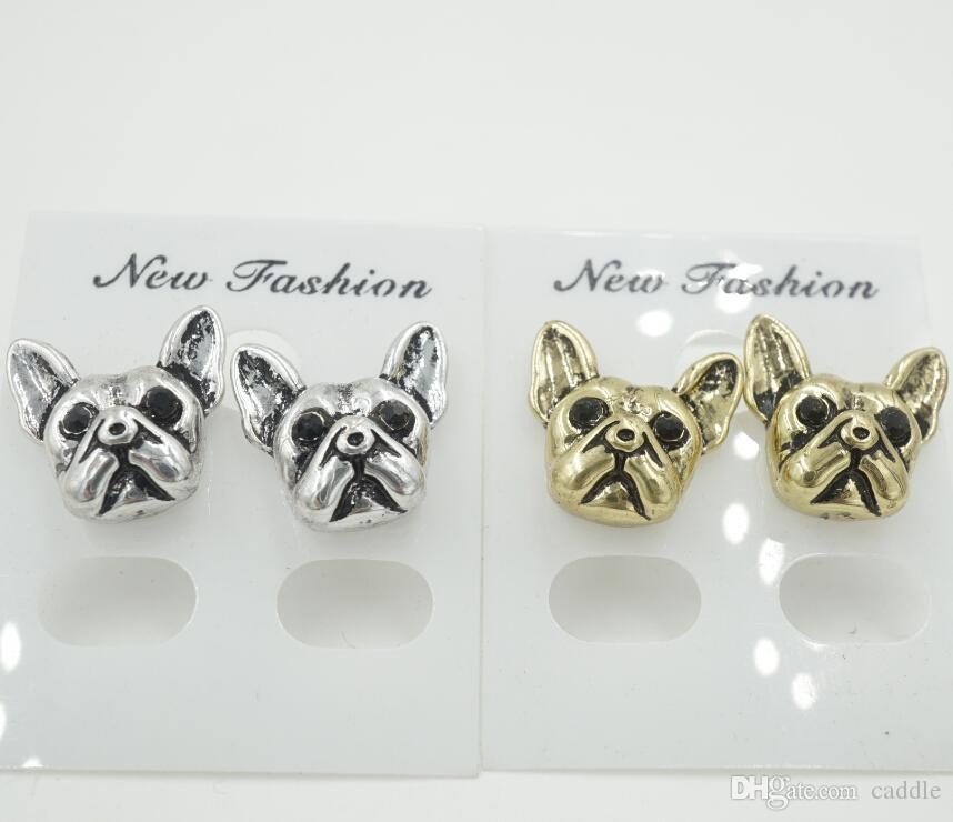 2015 New Arrival French Bulldog Puppy Face Stud Earrings Animal Jewelry for Dog Lovers for Women ED105