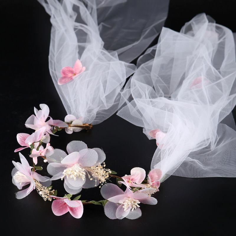 Pembe Çiçek Düğün Veils Zarif El Yapımı Saç Bandı Gelin Headdress Çelenk Headdress Takı Beyaz Yumuşak Tül Veils Gelinler için Saç Klipler