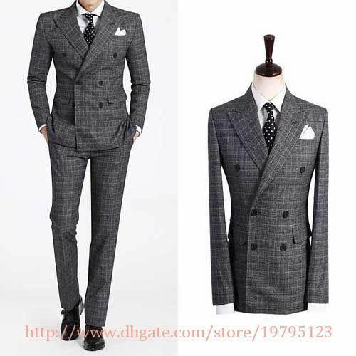 Double Breasted Suit Groom Tuxedos Best Man Peak Lapel Groomsmen ...