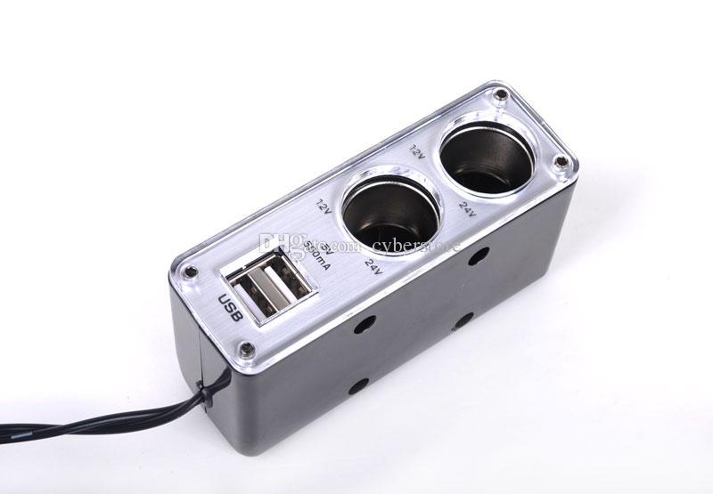 12V-24V 2 Vías encendedor de cigarrillos del coche Multi Socket puertos USB dobles Adaptador de cargador de teléfono móvil para el teléfono iphone Samsung HTC Sony IPAD