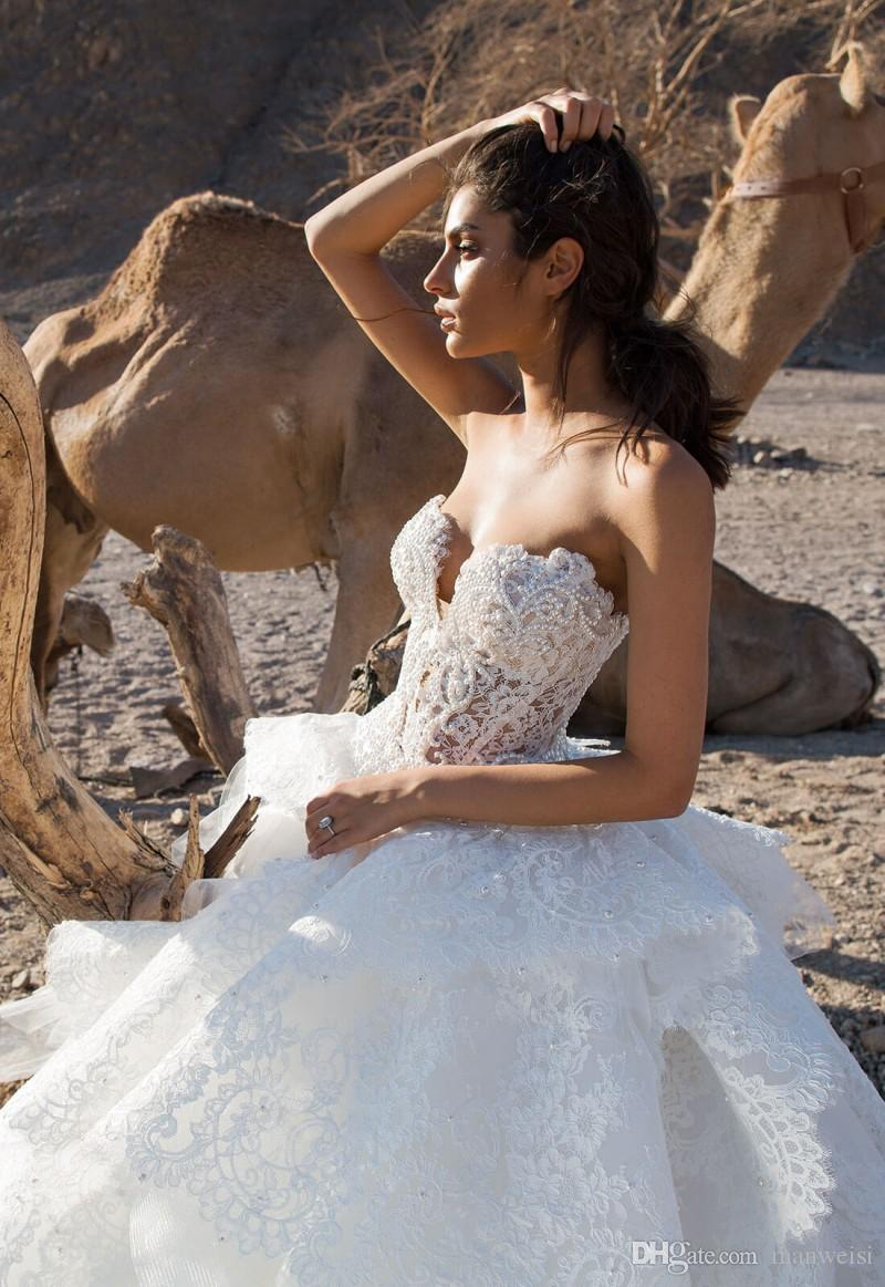 Luxury Lace 2018 Wedding Dresses Beaded Pearls Tiered Sweetheart Backless Bridal Gowns Sweep Train Pnina Tornai Plus Size Wedding Dress