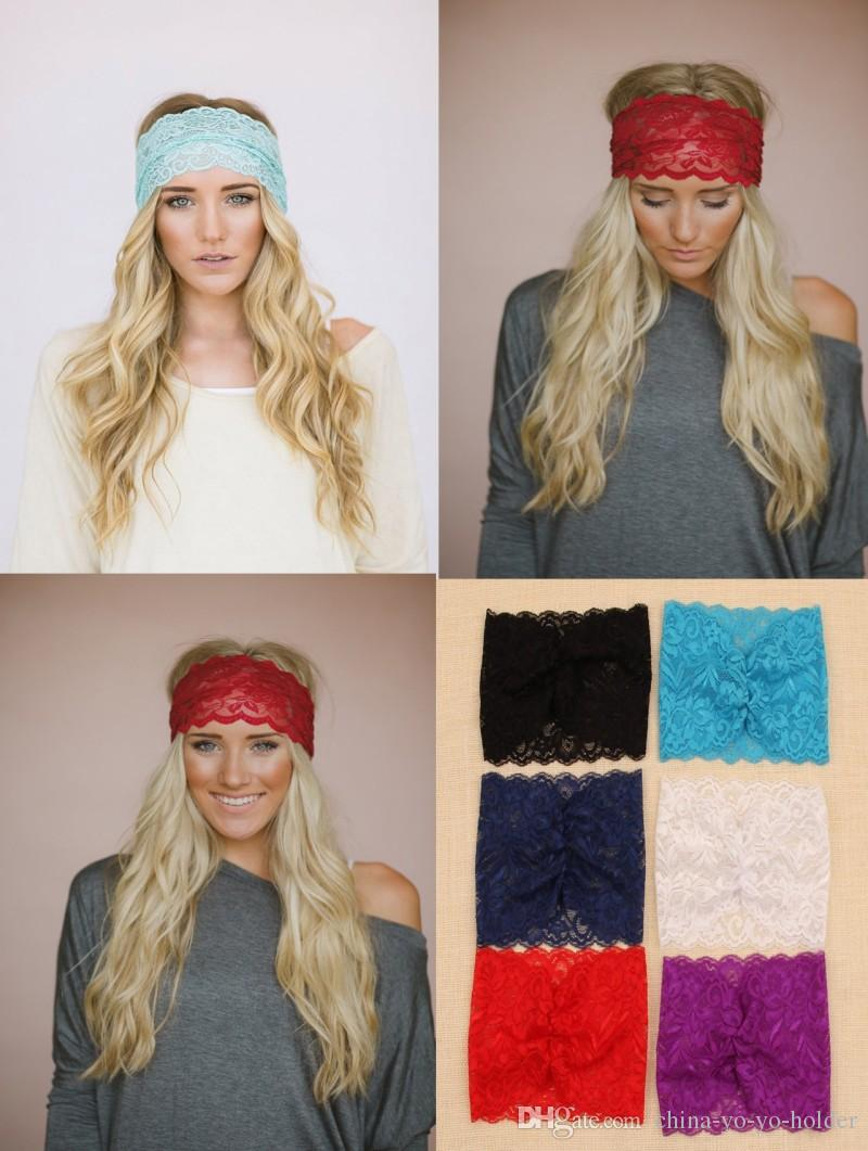 2015 Women Fashion Bandanas Lace Head Wrap Girls Wide Chic Turban Hair Band Headbands  Hair Accessories For Womens Girls D692J Crips Bandana Pet Bandanas ... a454e7deaa5