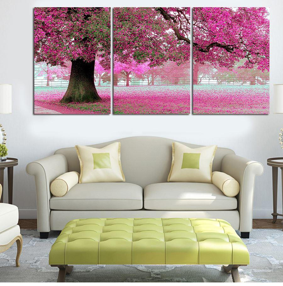 New Oil Painting On Canvas 3 Pcs Pink Cherry Blossom Large Modern Wall Art Office Decoration Picture Set Decoration Living Room