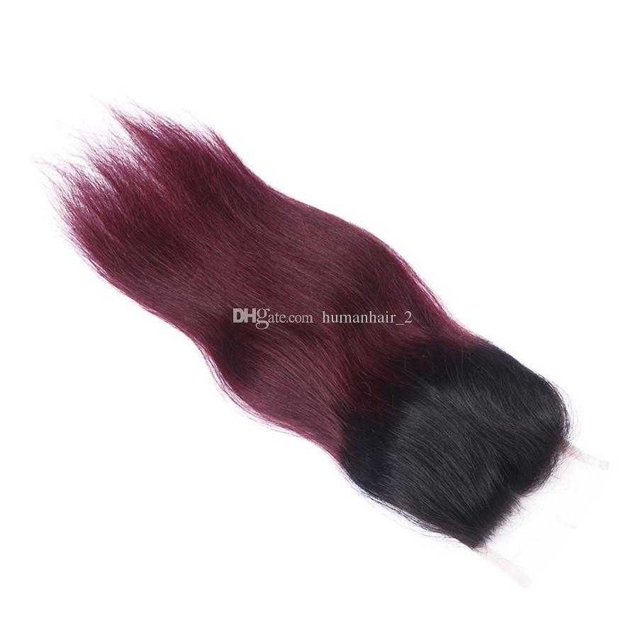 1B 99j Ombre Glattes Haar Bundles Mit 4 * 4 Spitze Schließung 1B 99j Ombre Menschliches Haar Spinnt Mit Spitze Top Verschluss