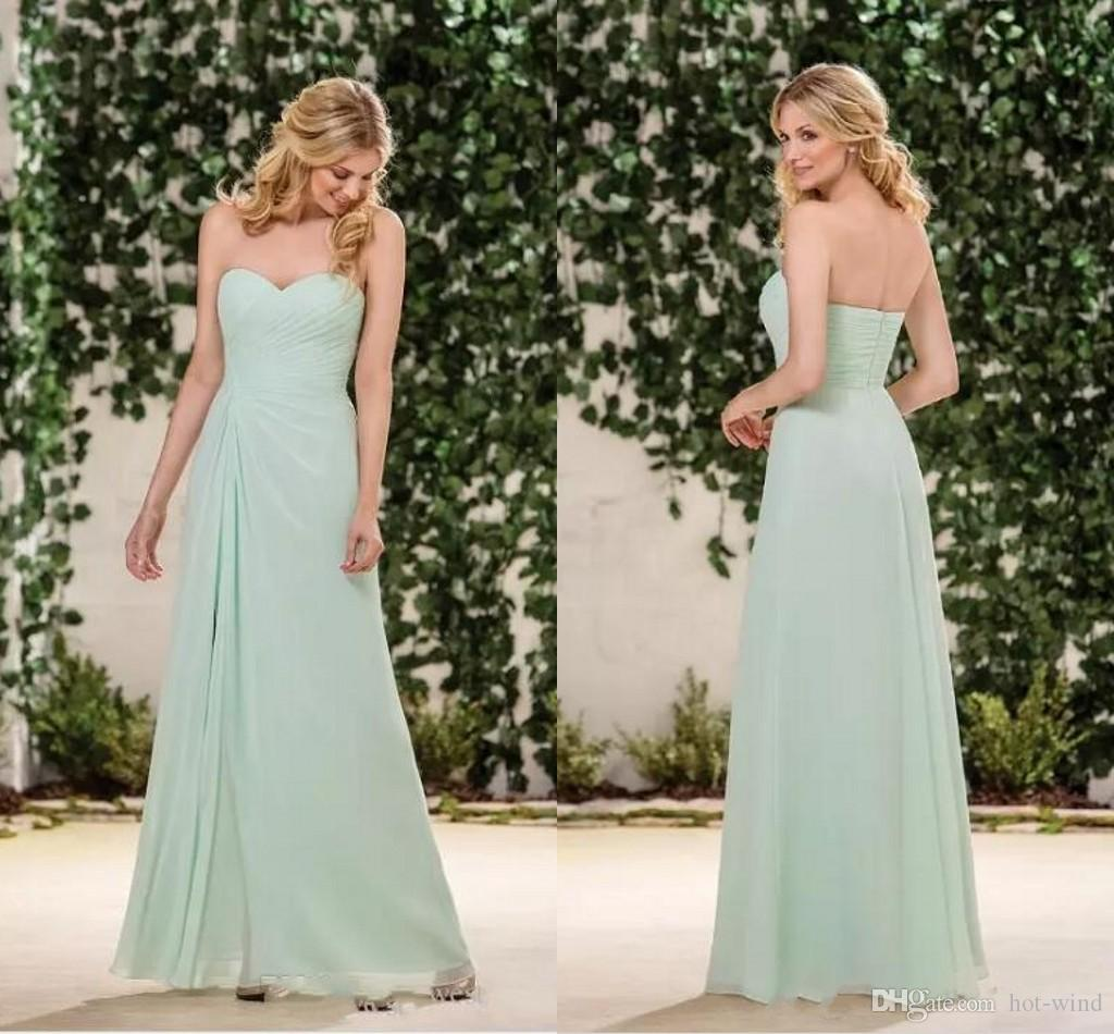 708986d522d6 Sage A Line Chiffon Jasmine Bridesmaids Dresses 2018 New Sweetheart Ruffle  Pleats Floor Length Cheap Wedding Party Guest Wear Alexia Bridesmaid Dresses  Baby ...