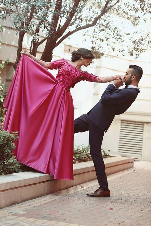 Fantasy Hot Pink Arabic Prom Dresses Off The Shoulder Long Sleeves Gorgeous 3D Floral Appliqes Bodice A Line Free Prom Gowns Evening Dress