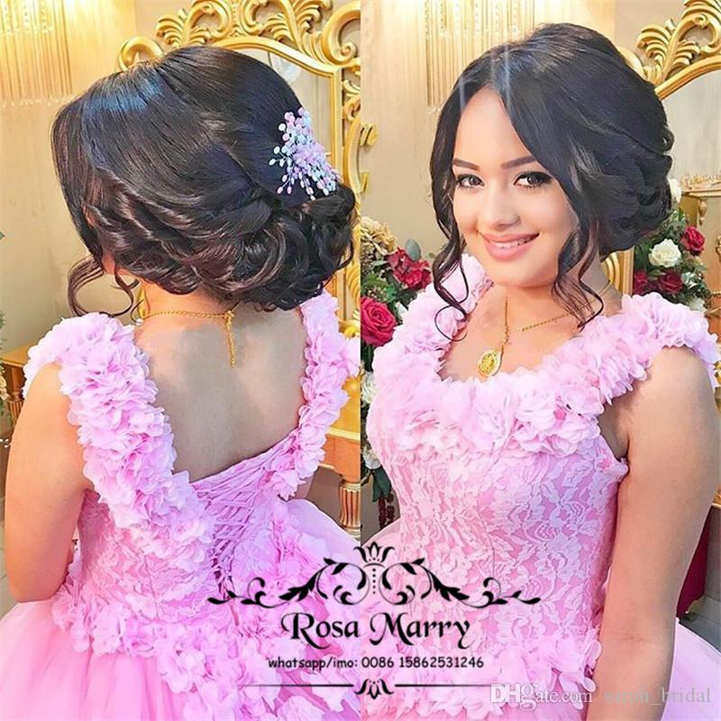 Princess 3D Floral Ball Gown Wedding Dresses 2020 Off Shoulder Pink Lace Plus Size Puffy Tulle Cheap Dubai Italy Quinceanera Bridal Gowns