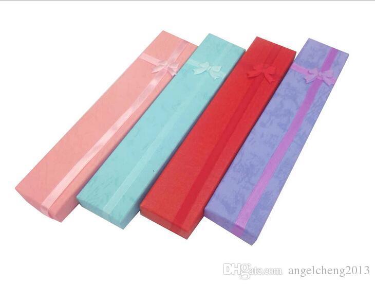 4 * 21 * 2cm Schmucksache-Halsketten-Armband-Uhr-Geschenk-Kasten-Kasten / Farbe wahlweise freigestellt 12 ein Paket Einfarbige Verpackung versendet