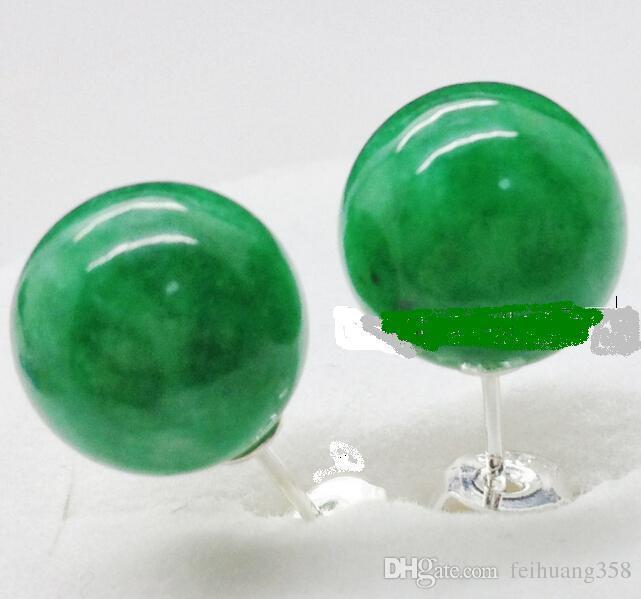 / 10mm 꽤 새로운 자연 녹색 jadeite 옥 925 스털링 실버 스터드 귀걸이