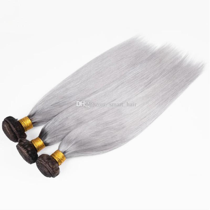 Cierre frontal de banda de encaje pre desplumado 360 con la trama del pelo de Ombre # 1B Paquetes de cabello liso de raíz oscura gris con 360 frontal