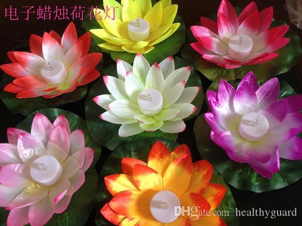 19 CM LED Artifical Lotus flower Colorful Changed Floating Water flower swiming Pool Wishing Light silk Lanterns Party supply