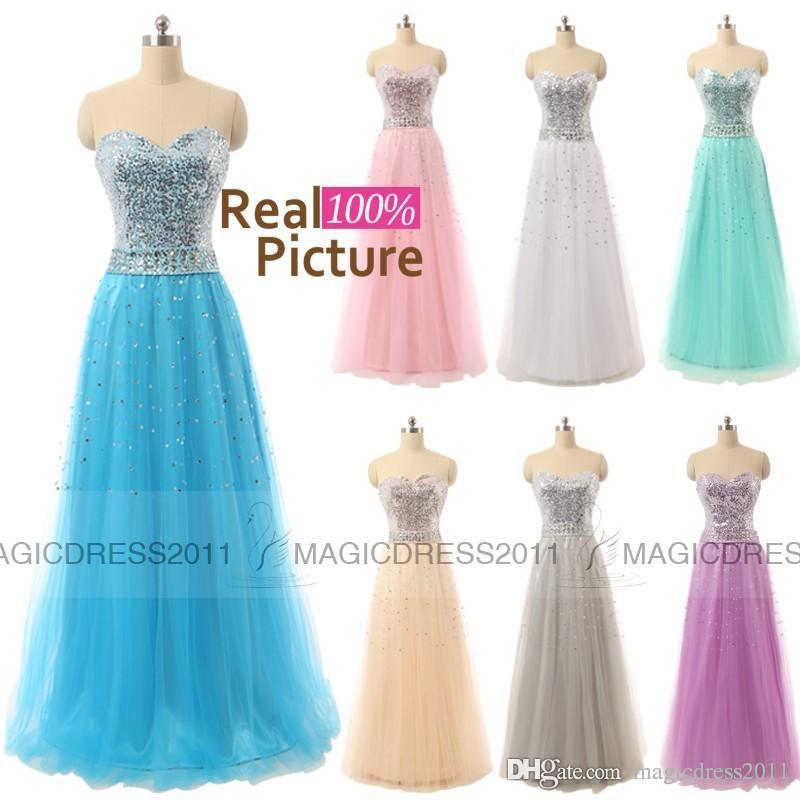2019 AUF LAGER Perlen Prom Abendkleider Backless A-Line Schatz Weiß Grau Blau Lila Grün Rosa Plus size Lange Formelle Party Kleid