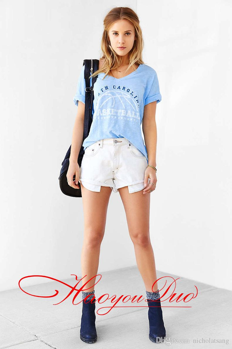 2016 새 도착 코튼 벨벳 블루 루즈 탑스 반소매 티셔츠 프린트 레터 노스 캐롤라이나 농구 티셔츠 for Women